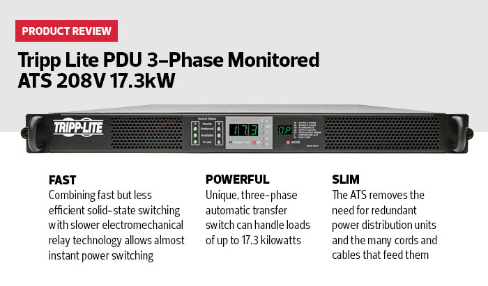 Review tripp lites pdu 3 phase ats shatters the 5 kw redundant the ats provides a great deal of information through the front panel including power availability line voltage frequency amps kilowatts and power sciox Images