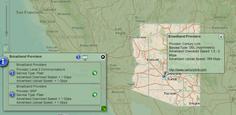 Arizona broadband map