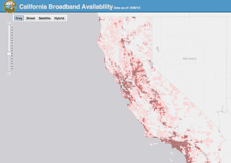 California broadband map
