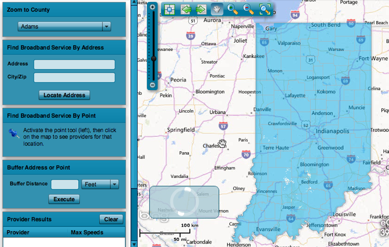 Indiana broadband map