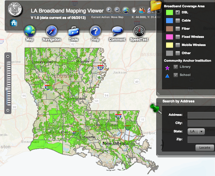 Louisiana broadband map