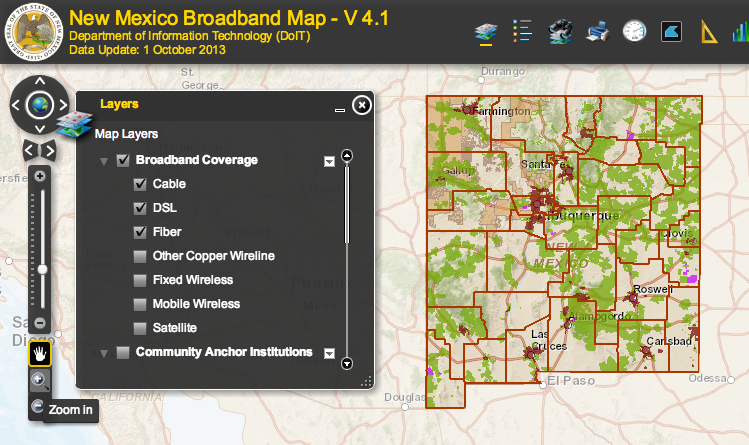 New Mexico broadband map