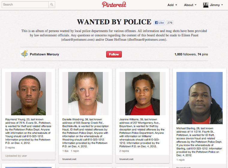 Using Pinterest to catch Criminals