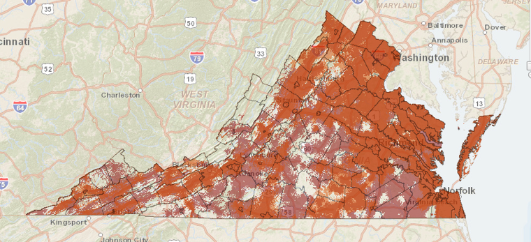 Virginia broadband map