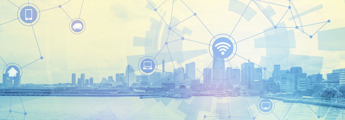 duo tone graphic of smart city and wireless communication network, abstract image visual, internet of things