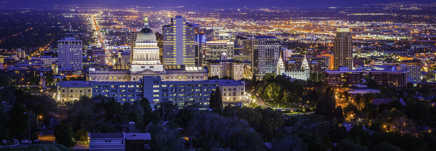 Salt Lake City downtown landmarks illuminated dusk panorama Utah USA