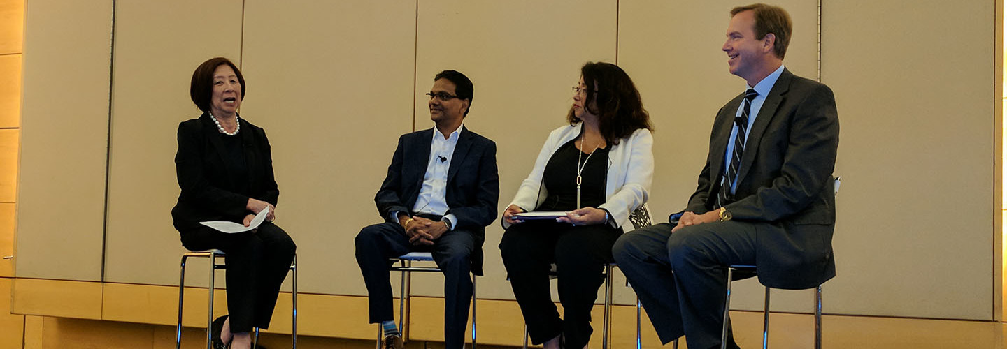From left: Teri Takai, executive director for the Center for Digital Government; Kumar Rachuri, director of state and local government solutions at Adobe; Karen Loquet, deputy audit controller for Los Angeles County; and Dean Pfoltzer, former senior executive at the Defense Department, speaking at the Adobe Digital Government Symposium 2018 in Washington, D.C., on May 15.