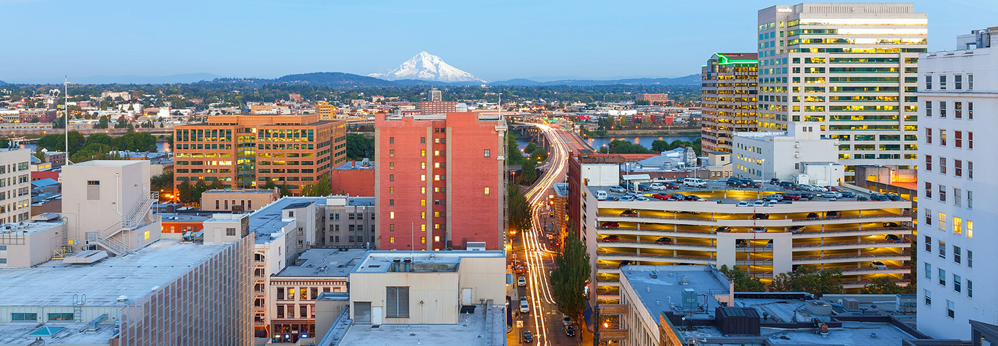 A view of downtown Portland, Ore., with Mt. Hood in the background.