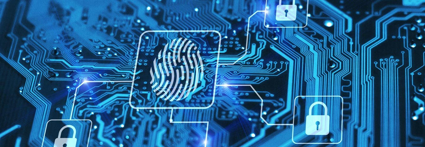 Cybersecurity concept with a fingerprint