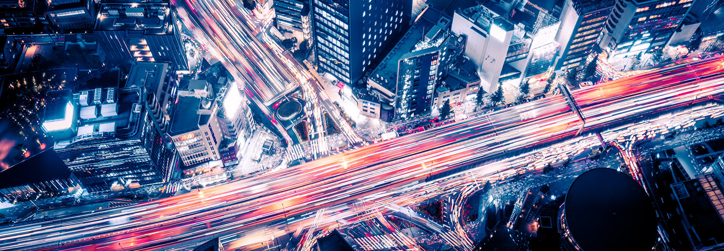 Smart city aerial view at night