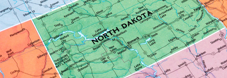 North Dakota on a map