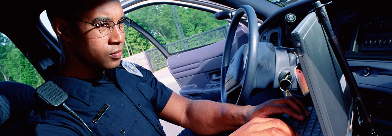 Police officer in car