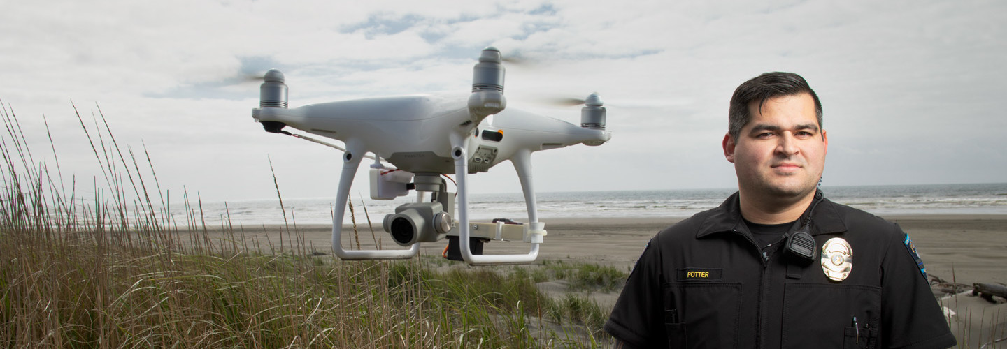 Ocean Shores Police Department Officer Clint Potter convinced his city to buy drones for water rescue.