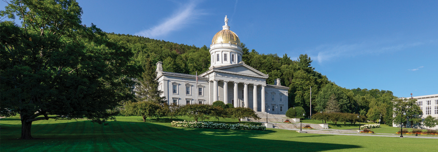 Panoramic of the Vermont State House on State Street in Montpelier, Vermont