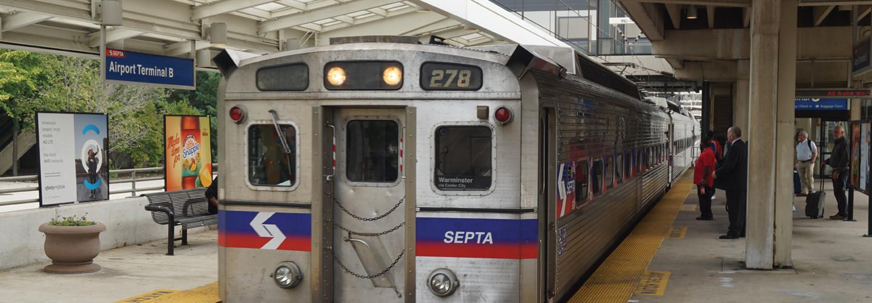 A SEPTA Airport Line train at Philadelphia International Airport Terminal B