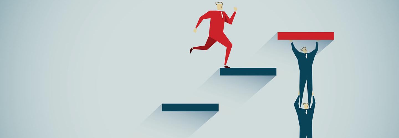 Man jumping on ladder illustration
