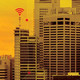 City with Wi-Fi signals above buildings
