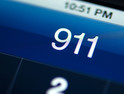 Calling 911 from smartphone.