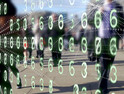 Streams of binary code being transmitted from the phones and tablets of people walking
