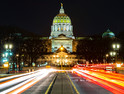 Pennsylvania statehouse at night