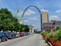 Downtown St. Louis with the Gateway Arch down the street