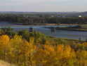 Fall scene of Missouri River at Bismarck ND.