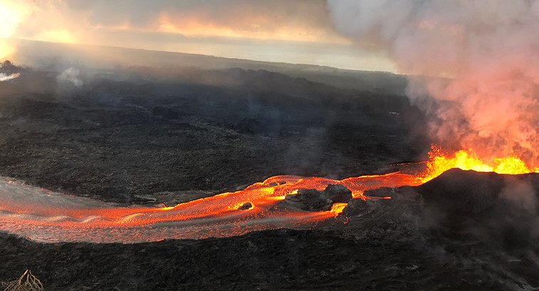 Fissure 8 lava fountain of the of the Kīlauea Volcano during an overflight of the lower East Rift Zone on June 13, 2018.