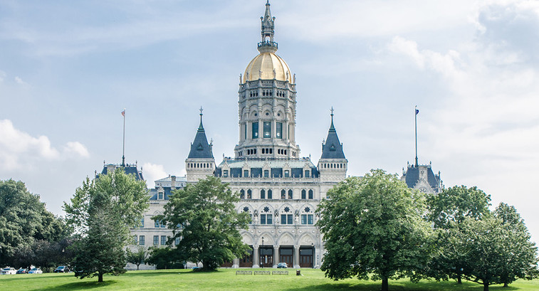 Facade of the Hartford State Capitol in Connecticut during a summer day