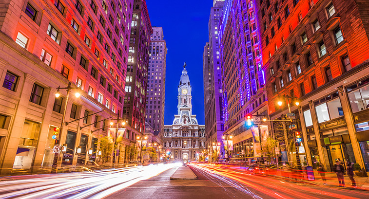 Image of Philadelphia City hall with car lights streaming at long exposure