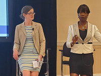 Maria Thompson, right, the chief risk officer for North Carolina, speaks about gender diversity in cybersecurity alongside Laura Bate, a policy analyst at the think tank New America.