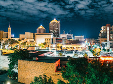 Panoramic image of Albuquerque Skyline at Night. New Mexico. USA.