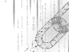 Chain links and binary code blockchain abstract