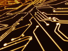Abstract circuit board with yellow lines