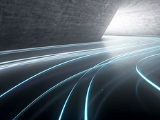 3d illustration light trail on road