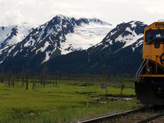 An Alaska Railroad train on the way to Spencer Glacier.
