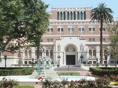 The Edward L. Doheny Jr. Memorial Library, University of Southern California campus in Los Angeles, Calif.