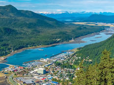 Aerial view of Juneau and the Gastineau Channel