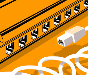 An orange illustration of a switch or router with an ethernet cable